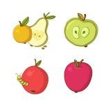 Vektorillustration mit Äpfeln und Birne Stockfotos