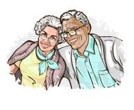 Vektorillustration mit dem Bild eines gl?cklichen eleganten reifen Paares lizenzfreie abbildung