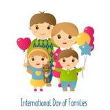 Vektorillustration mit dem Bild von Leuten Eine glückliche vierköpfige Familie und eine Katze Internationaler Tag des Feiertags v Stockbilder