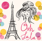 Vektorillustration mit Eiffelturm Lizenzfreie Stockbilder