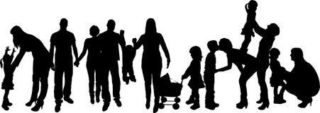 Vektorillustration mit Familienschattenbildern. Lizenzfreie Stockfotografie