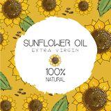 Vektorillustration mit handdrawn Sonnenblumen mit Samen auf ockerhaltigem gelbem Hintergrund Entwurf für Sonnenblumenöl, Sonnenbl vektor abbildung