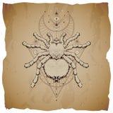 Vektorillustration mit Handgezogenem Insekt und heiliges geometrisches Symbol auf Weinlesepapierhintergrund mit heftigen Rändern  vektor abbildung