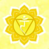 Vektorillustration mit manipura chakra Symbol auf gelbem Hintergrund stock abbildung