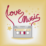 Vektorillustration mit Musikkassette Lizenzfreie Stockfotos
