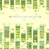 Vektorillustration mit netter Stadt Lizenzfreie Stockfotos