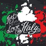 Vektorillustration mit Phrase halten Ruhe und lieben Italien Plakatdesignkunst mit kreativem Slogan Retro- Grußkarte in Skizze s Stockfotos