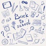 Vektorillustration mit Schulbedarf Stockfotos