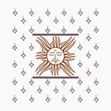Vektorillustration mit Sonne und Sternen Stockfoto