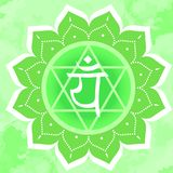 Vektorillustration mit Symbol chakra Anahata auf abstraktem Hintergrund Kreismandalamuster und -hand vektor abbildung