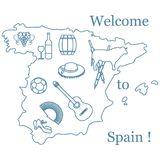Vektorillustration mit verschiedenen Symbolen von Spanien Reise und Le Stockfoto