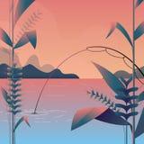 Vektorillustration - moderne Landschaft mit der Fischerei, hellpurpurnem Innere und langem Schatten Berglandschaftsnatur Baum Kun