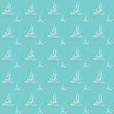 Vektorillustration nahtlosen Seemuster yatch Bootes adrette See Lizenzfreie Stockfotografie