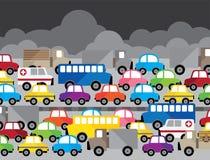Vektorillustration neben dem vielen Modell Auto stock abbildung
