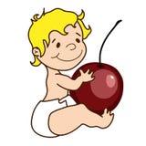 Vektorillustration - nettes Baby hält eine Kirsche lizenzfreie abbildung