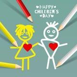 Vektorillustration på dagen för temabarn` s Royaltyfri Foto