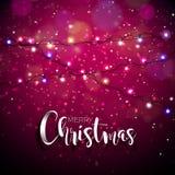 Vektorillustration på ett jultema med glödande ljus och typografi stock illustrationer