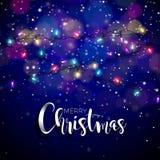 Vektorillustration på ett jultema med glödande ljus och typografi vektor illustrationer