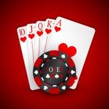 Vektorillustration på ett kasinotema med röda spela chiper och playigkort på mörk bakgrund Spela designbeståndsdelar vektor illustrationer