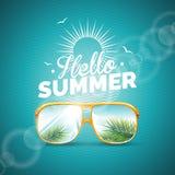 Vektorillustration på ett tema för sommarferie med solglasögon på blå bakgrund stock illustrationer