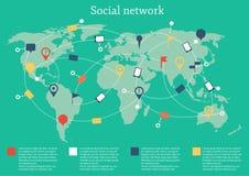 Vektorillustration på socialt nätverkstema Arkivfoton