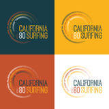 Vektorillustration på temat av att surfa i Kalifornien Arkivfoto