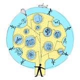 Vektorillustration på temat av utbildning och vetenskap bakgrund isolerad white stock illustrationer