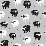 Vektorillustration på vita sheeps för grå sömlös modellsvart för bakgrund Royaltyfri Foto