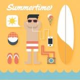 Vektorillustration: Plan symbolsuppsättning av sommarferie Royaltyfria Foton