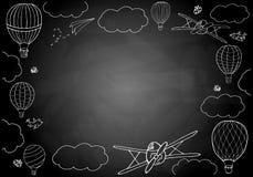 Vektorillustration, rektangulär ram med ballonger för varm luft royaltyfri illustrationer