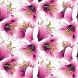 Vektorillustration, sömlös modell, bukett av liljor, stock illustrationer