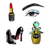 Vektorillustration, Satz Lippenstift, Augen, Stilette, Parfümflasche stockfotos