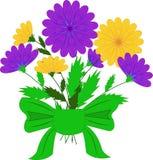 Vektorillustration, schöne purpurrote gelbe Blumen lizenzfreie abbildung
