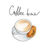 Vektorillustration: Schale Cappuccino mit Plätzchen auf Weiß Lizenzfreies Stockbild