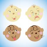 Vektorillustration scherzt Gesichter Die Gefühle der Kinder stellen Sie Ikonen, Symbole ein Stockbilder