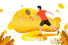 Vektorillustration - sportig man som spelar tennis Royaltyfri Fotografi