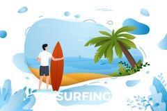 Vektorillustration - surfa mannen på en strand Arkivfoto