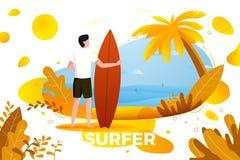 Vektorillustration - surfa mannen på en strand Royaltyfri Fotografi