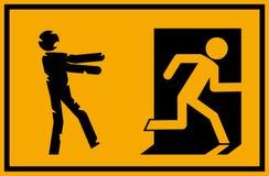 Vektorillustration - tecken för nöd- utgång för levande död med ett pinnediagram konturundead som jagar en person som försöker at royaltyfri illustrationer