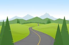 Vektorillustration: Tecknad filmberglandskap med vägen vektor illustrationer