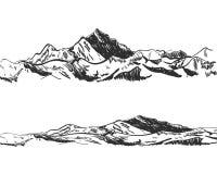 VEKTORillustration: teckningar av berg, den drog naturen, landskapet som är utomhus- skissar royaltyfri illustrationer