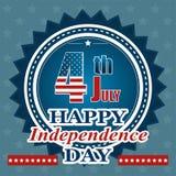Vektorillustration till dagen av självständighet av USA - klistermärke Royaltyfria Bilder