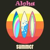 Vektorillustration, tre ljusa surfingbrädor, sport, vågor, hav Vektor Illustrationer