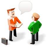 Vektorillustration: två roliga talande män i kubikstil Arkivbild