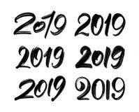Vektorillustration: Uppsättning av handskriven bokstäver av 2019 lyckligt nytt år Bergskamkalligrafi stock illustrationer