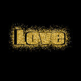 Vektorillustration Valentinsgruß ` s Tagesgrußkarten-Golddesign mit Typografie Lizenzfreies Stockbild