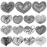 Vektorillustration Valentinstagsatz zenart Herzen umreißen Schwarzes auf weißem Hintergrund stock abbildung