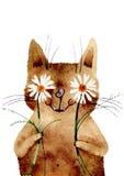 Vektorillustration, vattenfärgkatt Royaltyfri Foto
