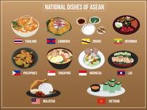 Vektorillustration von Asean-Wirtschaft CommunityAEC-Lebensmittel lizenzfreie abbildung
