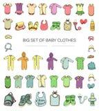Vektorillustration von Babykleidung stock abbildung